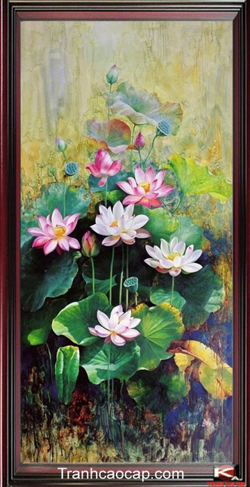 Tranh sơn dầu hoa sen
