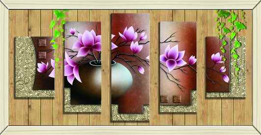 Tranh hoa sen 5 bức